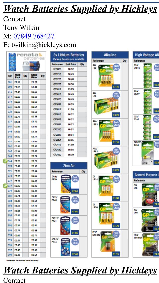 Battery P/List