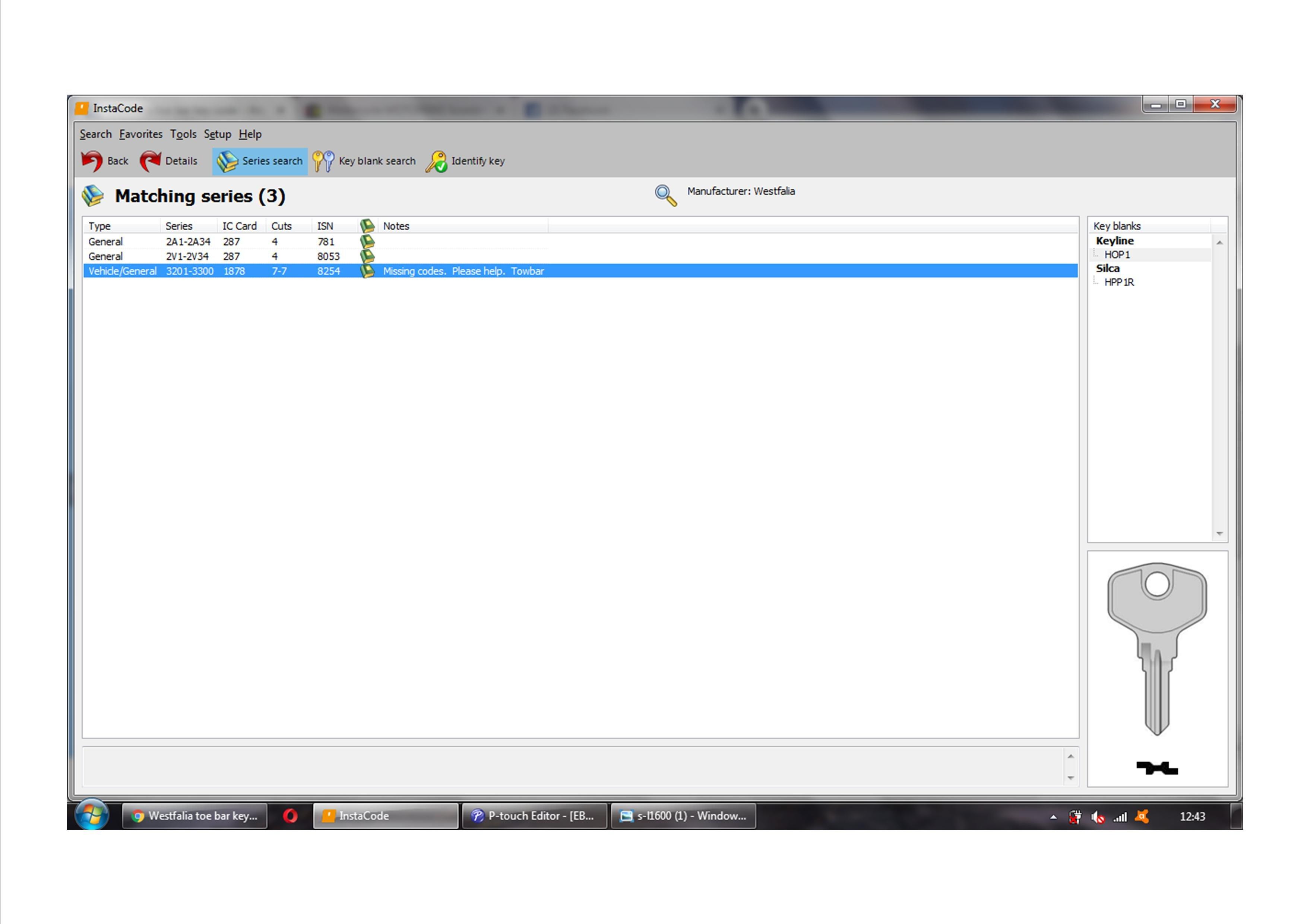 Westfalia tow bar key code  - Key Cutting - Sponsored by